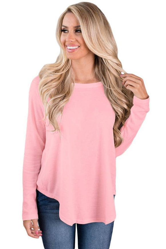 Pink Open Back Detail Long Sleeve Loose Fit Sweater