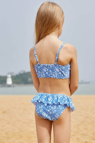 Blue White Paisley Print Little Girl Bikini with Ruffle