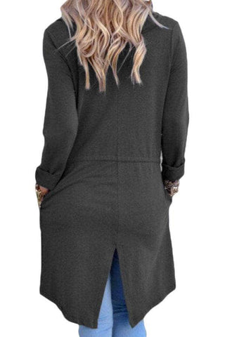 Grey Drapery Open Front Back Slit Oversize Coat