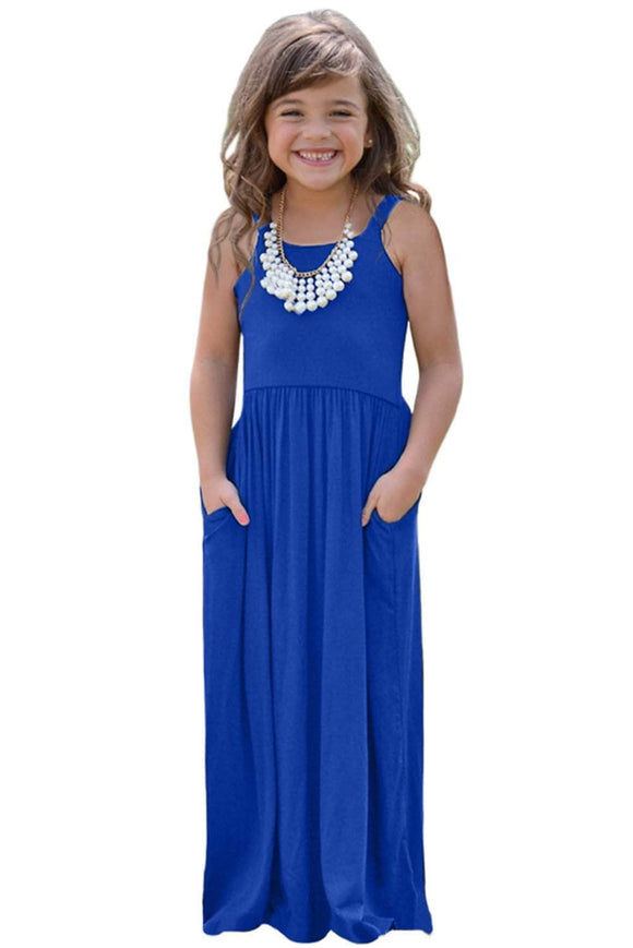 Blue Girls Suspender Pocket Dress