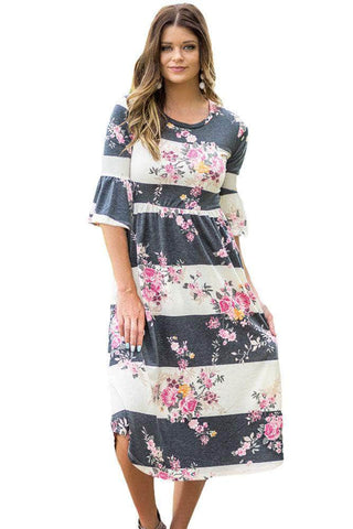 Charcoal White Colorblock 3/4 Bell Sleeve Floral Midi Dress
