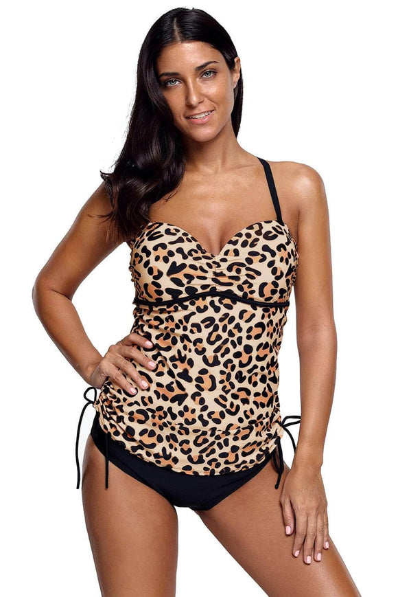 Cute Leopard Print Sweetheart Tankini Swimsuit