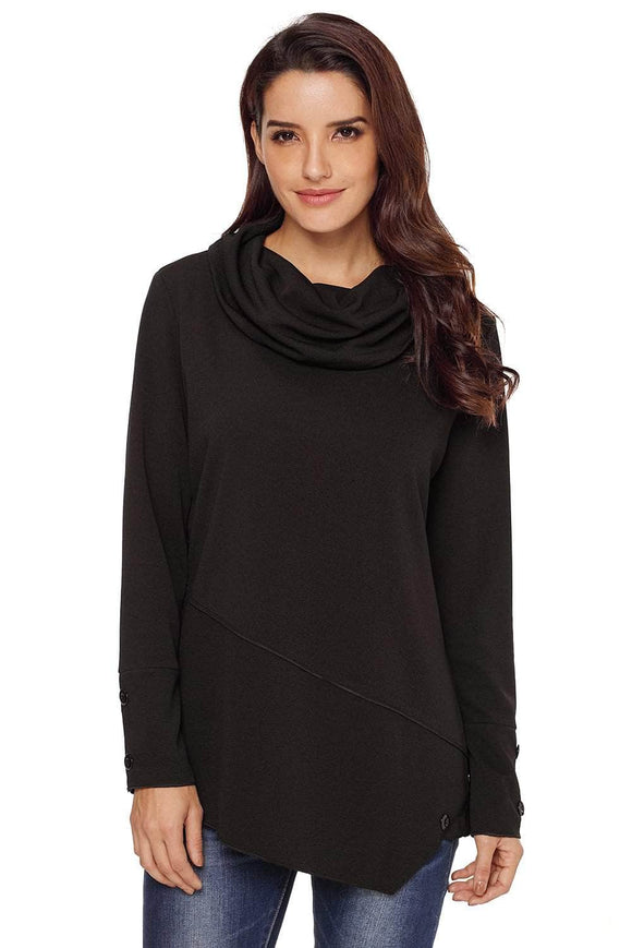 Black Button Detail Asymmetric Cowl Neck Sweatshirt