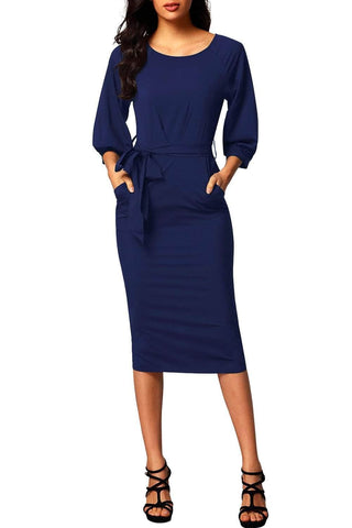 Blue Puff Sleeve Belt Chiffon Pencil Dress