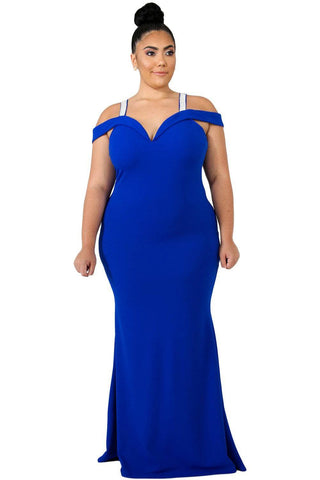 Royal Blue Rhinestone Cold Shoulder Plus Size Party Dress