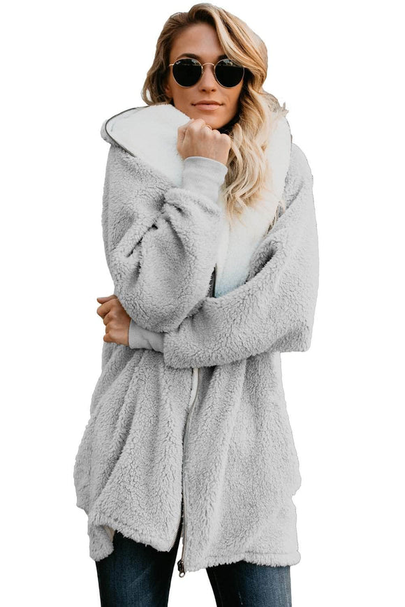 Gray Zip Down Hooded Fluffy Coat