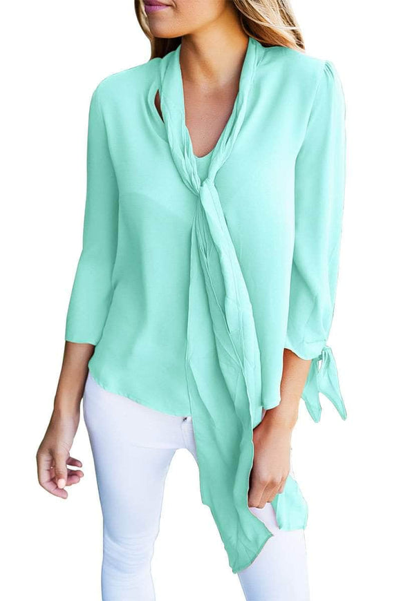 Light Blue Bow-tie Sleeved Blouse with Necktie