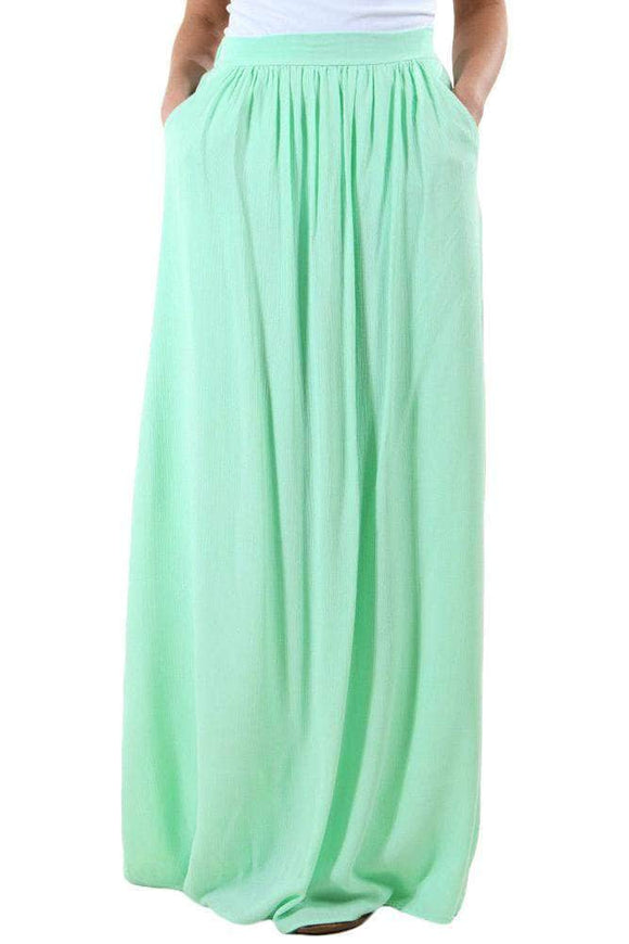 Mint Elastic Waist Pleated Gauze Maxi Skirt with Lining