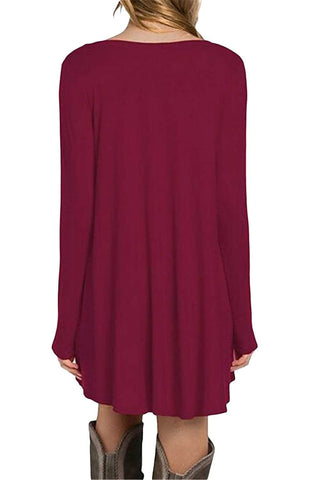 Burgundy Long Sleeve Pocket Casual Loose T-shirt Dress