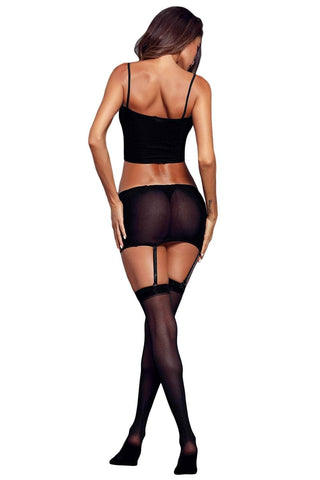 Black False-3-pc Garter Stocking Lingerie