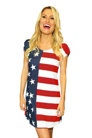 The Stars and Stripes Short Sleeve Shirt Dress