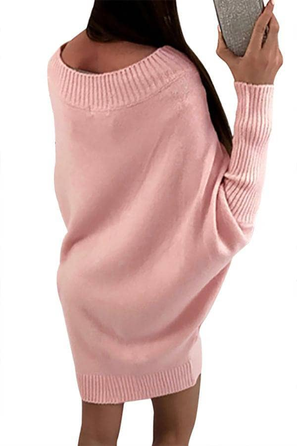 3bca1a38690 Pink Stylish Long Sleeve Baggy Sweater Dress by Victory Roze
