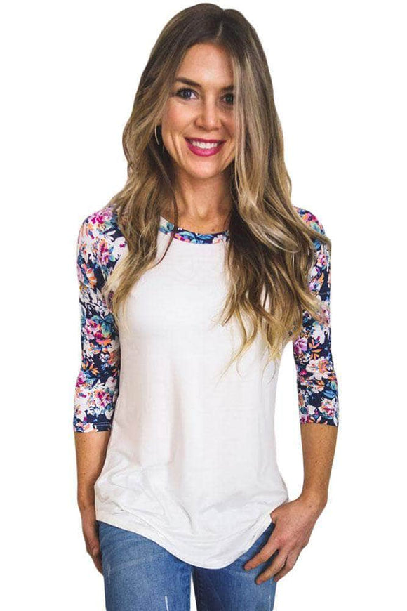 Floral Print Raglan Sleeve White Top