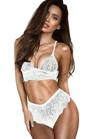 White Lace Bralette Erotic 2pcs Lingerie Set by Victory Roze
