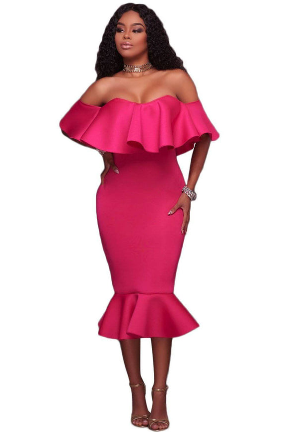 Rosy Ruffle Off Shoulder Mermaid Midi Party Dress