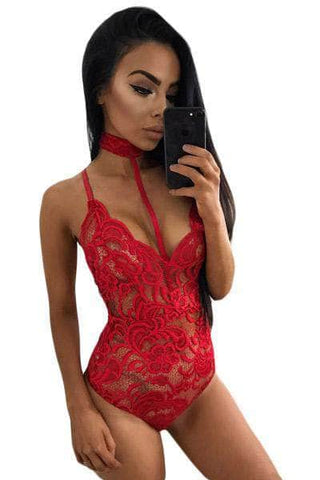 Hot Red Sheer Lace Choker Neck Teddy Lingerie