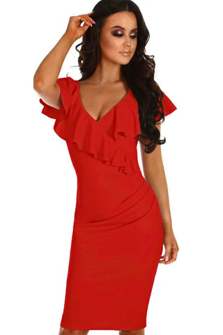 Gossip Red Frill Bodycon Sheath Dress
