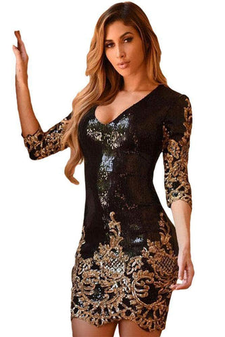 Black Victorian Gold Sequins 3/4 Sleeves Bodycon Dress by Victory Roze