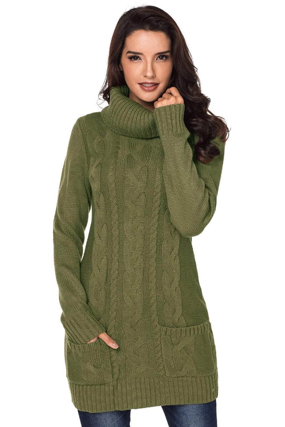 baf275880f7 Olive Cowl Neck Cable Knit Sweater Dress