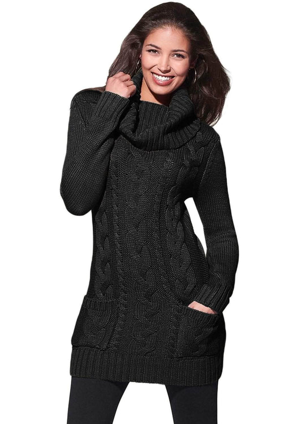 91e42504b0d Black Cowl Neck Cable Knit Sweater Dress