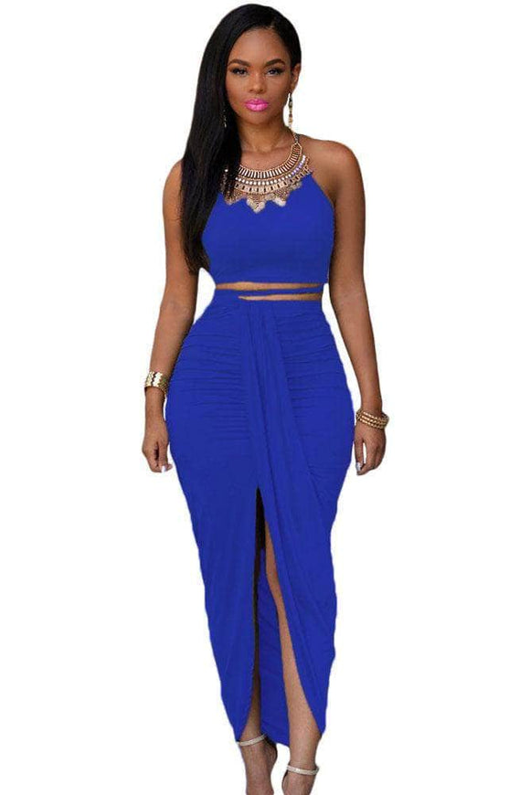 Royal Blue Cotton Two Piece Maxi Skirt Set