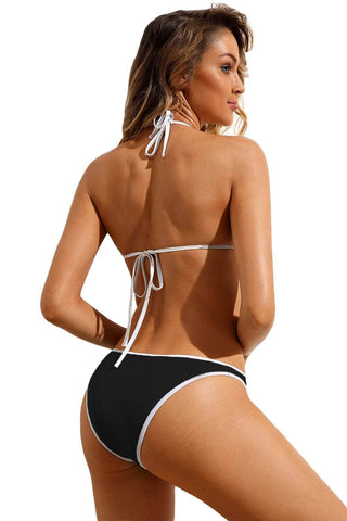 Black Triangular Halter Bikini 2pcs Swimsuit