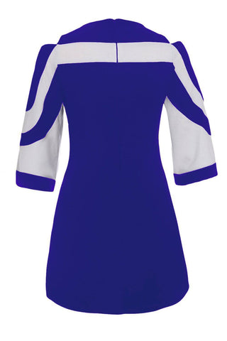 Royal Blue White Colorblock Dress