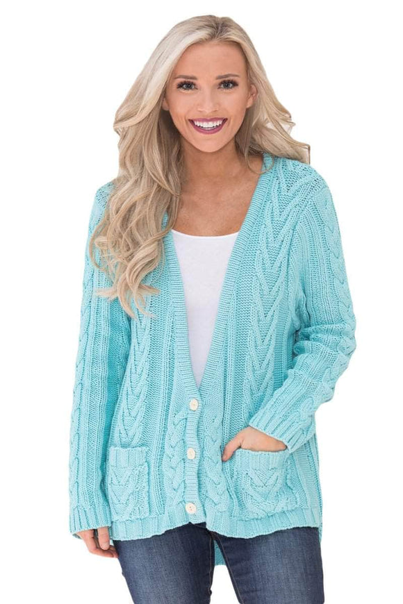 Blue Button the Deep V Front Cable Sweater Cardigan