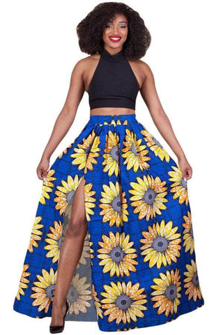 Sunflower Printed High Split Maxi Skirt