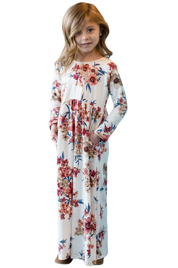 White Floral Maxi Dress for Girls