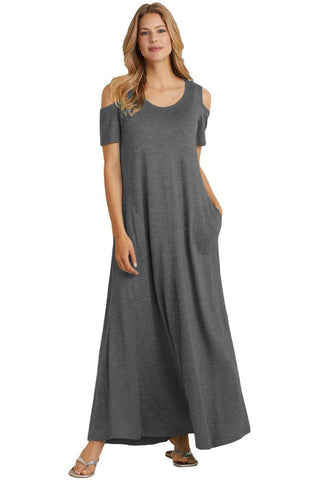 Charcoal Cold Shoulder Pocket Style Maxi Dress by Victory Roze