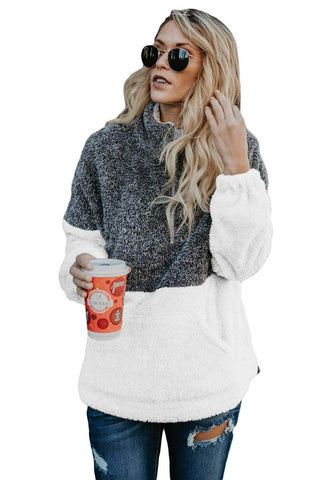 Charcoal White Zip Neck Oversize Fluffy Fleece Pullover