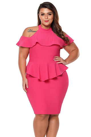 Rosy Plus Size Cold Shoulder Peplum Bodycon Dress
