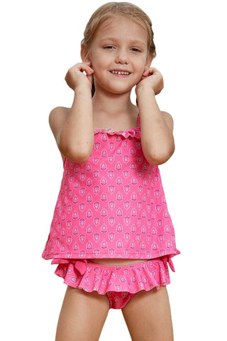 Rosy Little Girls Tankini Swimsuit with Print