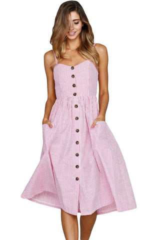 Pink White Striped Button Down Mid Calf Dress