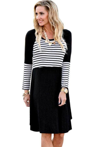 Black Chic Blocked Stripe Jersey Dress