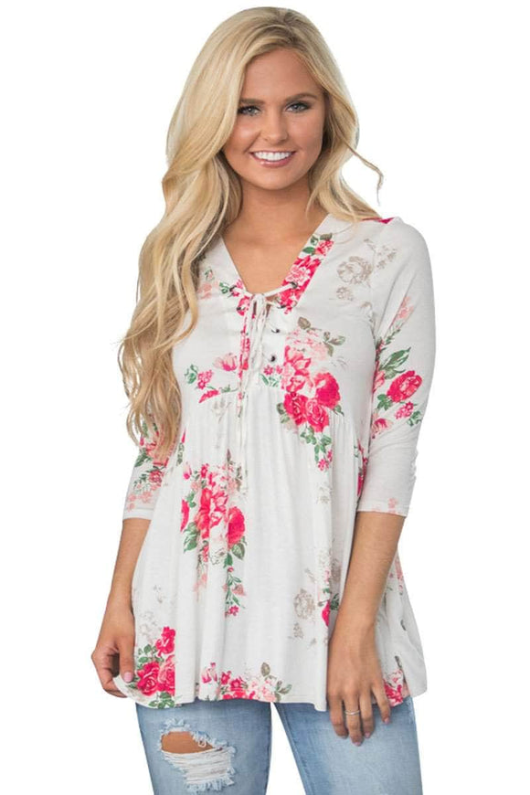 Lace Up V Neck White Floral Blouse
