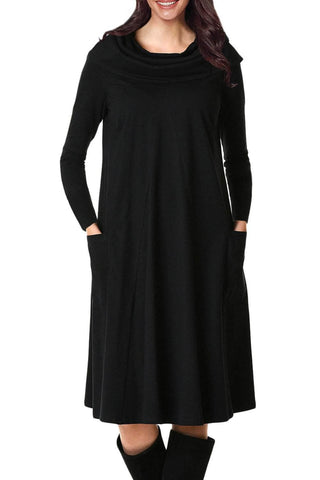 Black Cowl Neck Long Sleeve Jersey Dress