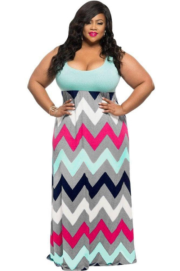 Plus Size Light Blue Top Multicolor Zigzag Maxi Dress