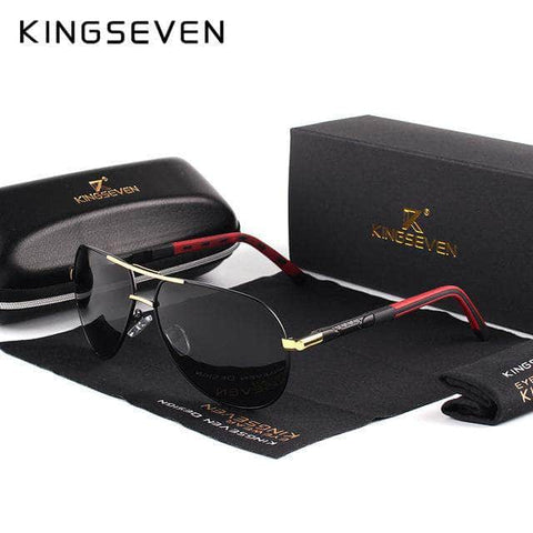 KINGSEVEN Men Vintage Aluminum HD Polarized Sunglasses Classic Brand Sun glasses Coating Lens Driving Shades For Men/Wome by Victory Roze