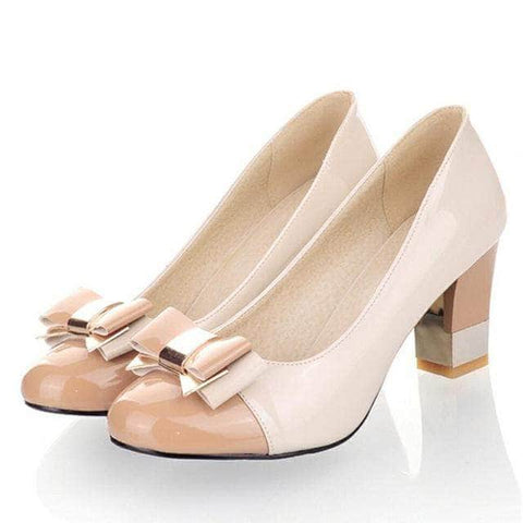 Candy Color  Shallow Color Block Thick High Heels Shoes with Bowtie