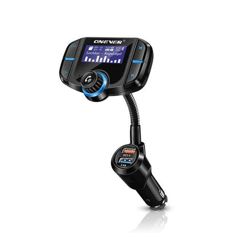 Rotatable Bluetooth Car Kit FM Transmitter MP3 Player Modulator With Quick Charge3.0 Dual USB Car Charger