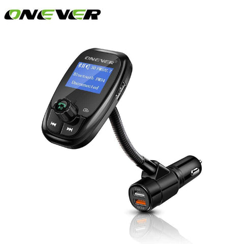 Bluetooth Car Kit FM Transmitter with Dual Quick Charge USB Car Charger