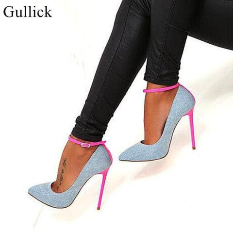 Denim Blue and Pink High Heel Stilettos by Victory Roze