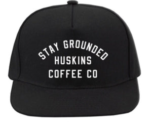 Huskins Coffee Stay Grounded Black Trucker SnapBack Hat