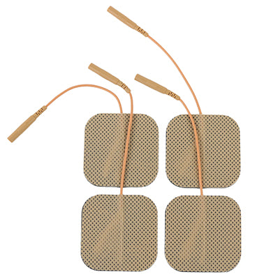 Tan Cloth Electrodes w/ Tyco Gel, 4/pk