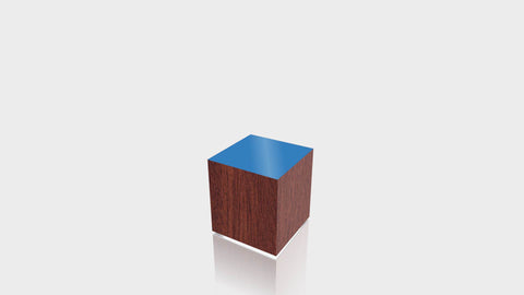 RECTANGLE - Acajou Mahogany Base + Spectrum Blue Top