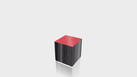 RECTANGLE - Ebony Ribbonwood Base + Spectrum Red Top