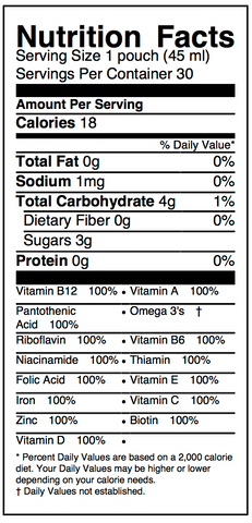 Sustain Nutrition facts