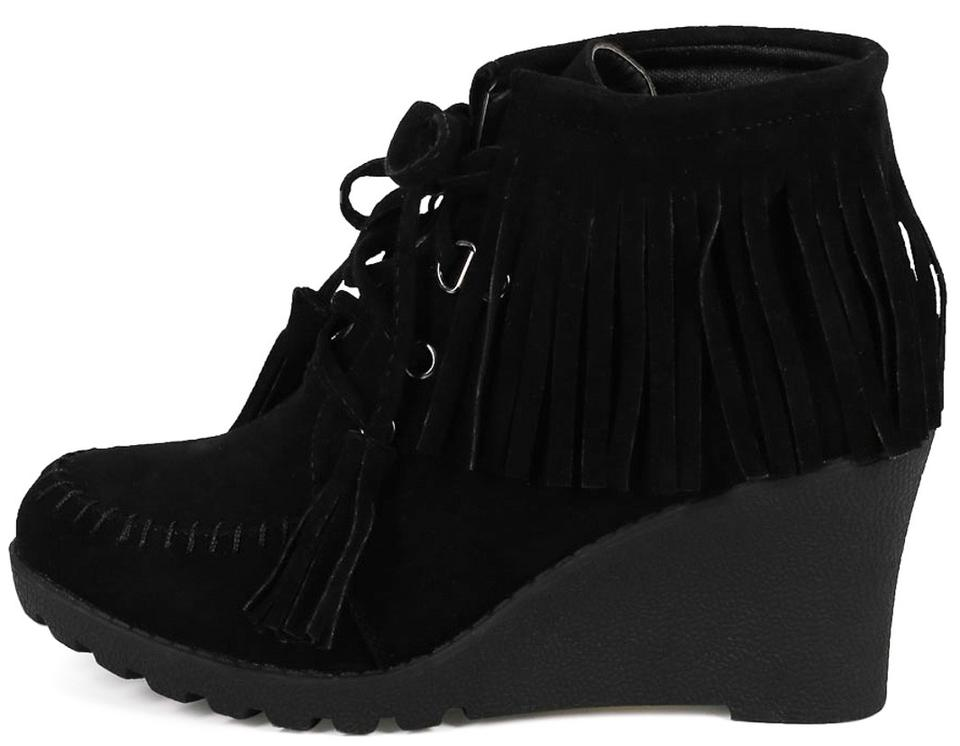Womens Black Fringe Lace Up Wedge Ankle Boots  581bff0690